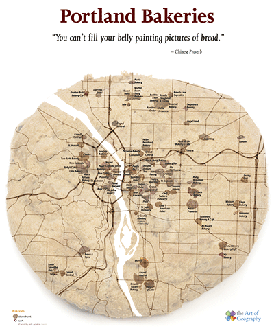 Thumbnail of the Portland Bakery Map by the Art of Geography. This is a copyrighted work.