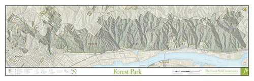 A poster print map of Forest Park
